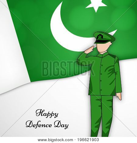 illustration of Soldier saluting with Happy defence Day text on Pakistan flag background on the occasion of Pakistan defence day