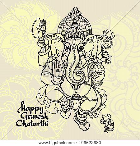 Hindu God Ganesha. Hand drawn Vector illustration.  Black line  on white background with mandala. Handwritten words Happy Ganesh Chaturthi.