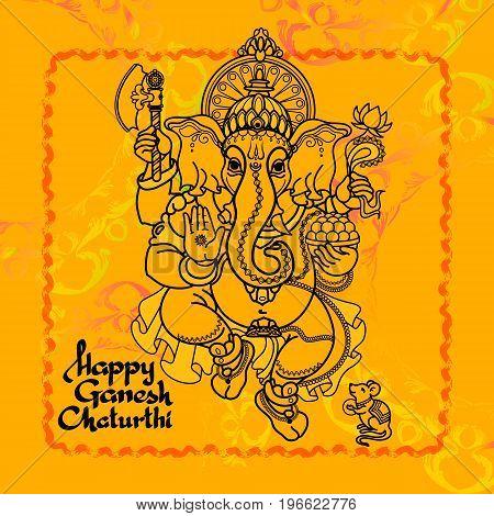 Hindu God Ganesha. Hand drawn Vector illustration.  Black line  on yellow background. Handwritten words Happy Ganesh Chaturthi.