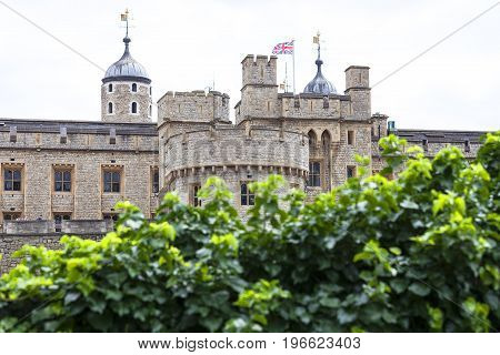 Tower of London medieval defense building London United Kingdom. The castle was used as a prison from 1100 until 1952