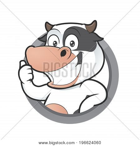 Clipart picture of a cow cartoon character giving thumbs up in round frame