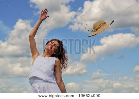 Wind Blows The Hat Off The Womans Head