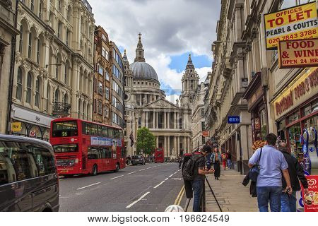 LONDON, GREAT BRITAIN - MAY 23 2014: This is the Cathedral of St. Paul from the side of Lutgate Hill.