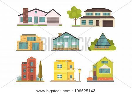 Cottage and assorted real estate building icons. Residential house collection in new cartoon style.