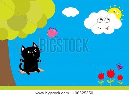 Cat ride on the swing. Tulip flower set with leaf and flying butterfly insect. Tree plant flying bird smiling cloud sun. Floral plant decoration element. Flat design. Blue sky background. Vector