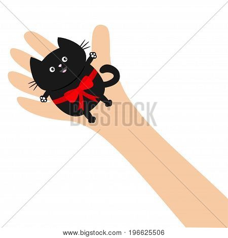 Hand arm holding black cat with red bow ribbon. Adopt animal pet. Helping hands concept. Funny gift. Cute cartoon character. Close up body part. Flat design style. White background. Isolated. Vector
