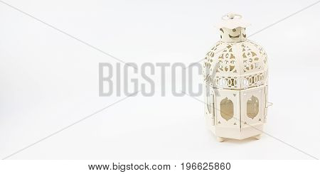 Decorate White Metal Lantern Case For Set Up On Table Or Hanging