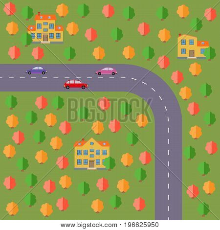 Plan of village. Landscape with the road forest cars and houses. Vector illustration