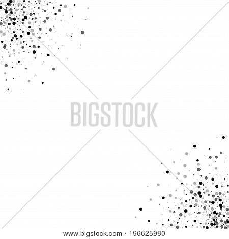 Dense Black Dots. Frame Corners With Dense Black Dots On White Background. Vector Illustration.
