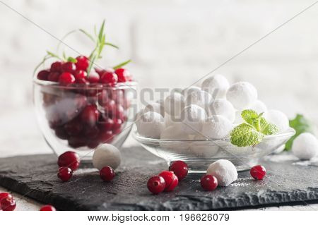 Close-up bowl of cranberries in powdered sugar with several fresh cranberries and mint on white wooden background