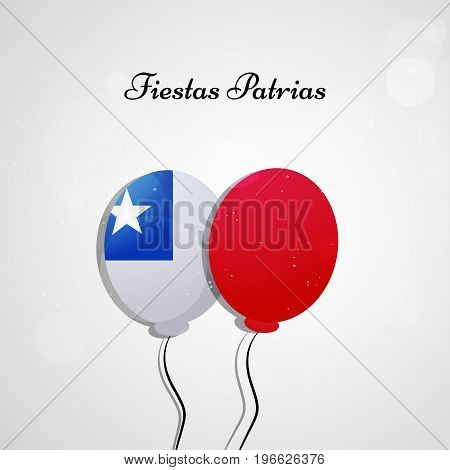 illustration of balloon in Chile flag background with Fiestas Patrias text on the occasion of Chilean Fiestas Patrias
