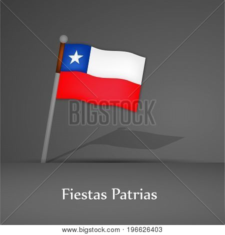 illustration of Chile flag with Fiestas Patrias text on the occasion of Chilean Fiestas Patrias