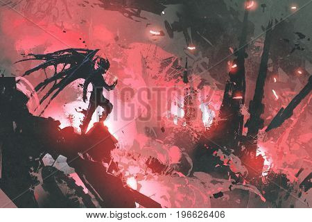 black devil standing on ruins of building against burning city, digital art style, illustration painting