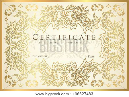 Certificate, Diploma of completion (golden design template, white background) with floral, filigree pattern, scroll border, frame. Gold Certificate of Achievement, coupon, award, winner certificate