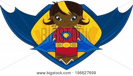Cute Cartoon Heroic Superhero Crime Fighter Badge