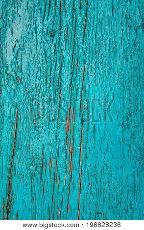 Cracked Weathered Blue And Green Shabby Chic Painted Wooden Board Texture, Front View