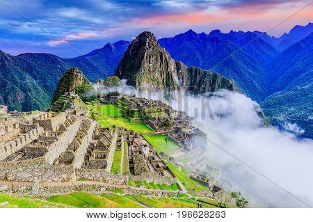 Machu Picchu Peru. UNESCO World Heritage Site. One of the New Seven Wonders of the World
