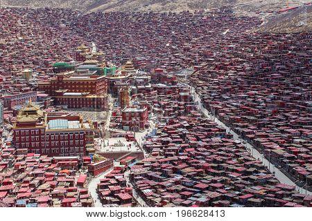 Landmark in Sichuan Top view night scene at Larung gar (Buddhist Academy) in Sichuan China
