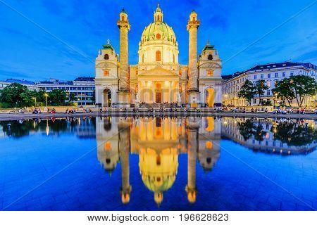 Vienna Austria. St. Charles's Church (Karlskirche) at twilight.