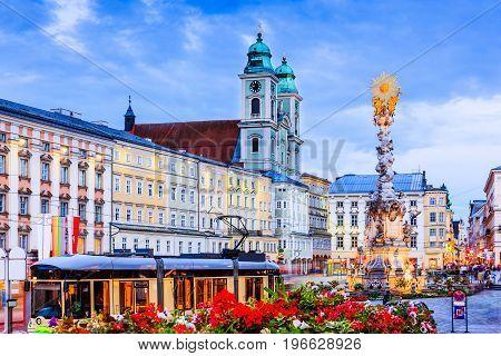 Linz Austria. Holy Trinity column on the Main Square (Hauptplatz).