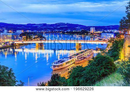 Linz Austria. Nibelungen bridge over the Danube river.