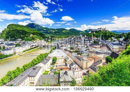 Salzburg Austria. Festung Hohensalzburg fortress Salzburger Dom and Salzach river.