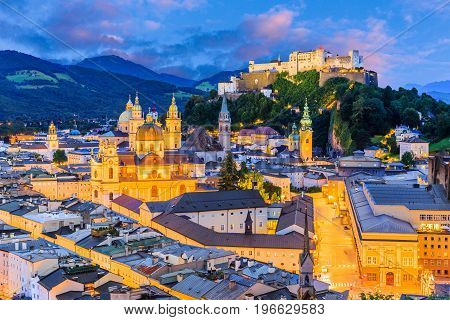 Salzburg Austria. Old town with Festung Hohensalzburg fortress and Salzburger Dom. salzburg