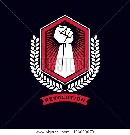 Vector symbol made using raised arm of a muscular male protection shield and laurel wreath. Best fighter vector symbol triumph concept.