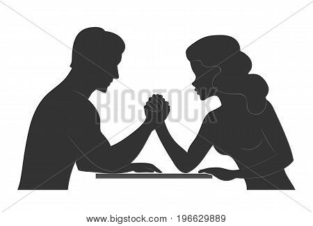 Battle of the sexes. Man and woman. Silhouette of Conflict between couple