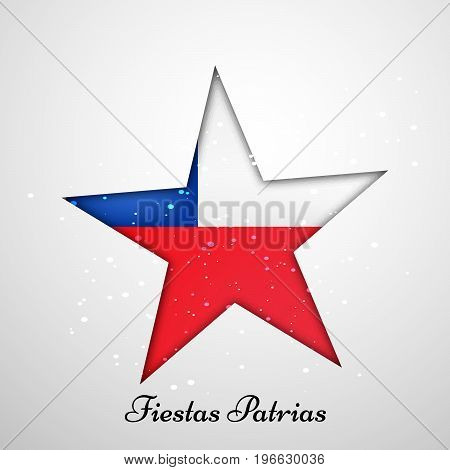 illustration of star in Chile flag background with Fiestas Patrias text on the occasion of Chilean Fiestas Patrias