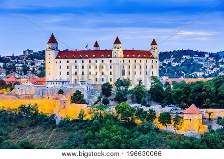 Bratislava Slovakia. View of the Bratislava castle at the twilight.