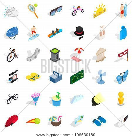 Summer playground icons set. Isometric style of 36 summer playground vector icons for web isolated on white background