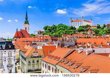 Bratislava Slovakia. View of the Bratislava castle St. Martin's Cathedral.