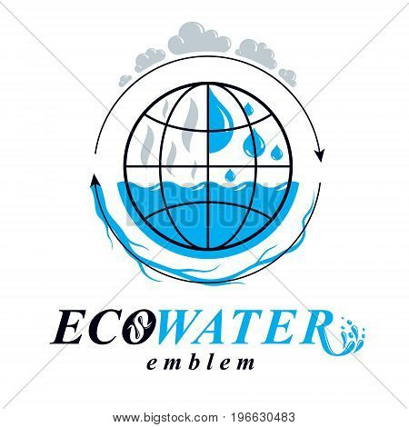 Pure water vector abstract logotype for use in mineral water advertising. Human and nature coexistence concept.