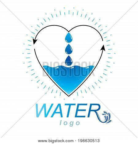 Ocean freshness theme vector logo. Water cleansing advertisement. Human and nature coexistence concept.