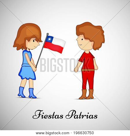 illustration of boy and girl holding Chile flag with Fiestas Patrias text on the occasion of Chilean Fiestas Patrias