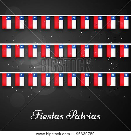 illustration of decoration with Fiestas Patrias text on the occasion of Chilean Fiestas Patrias