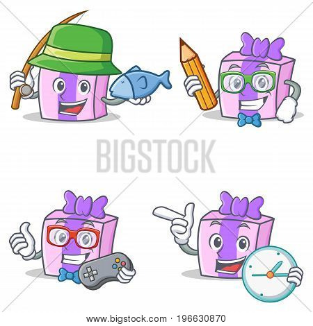 Set of gift character with fishing pencil gamer clock vector illustration