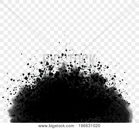 Black ink wash detailed grunge splash. Vector illustration.