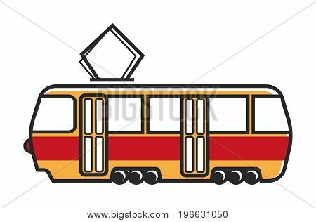 Tram wagon with special metal antenna, wide transparent windows and small round wheels isolated vector illustration on white background. Public transport that works with help of electricity.