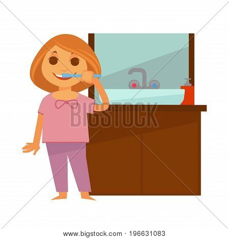 Redhead girl in pink pajamas brushes her teeth near washbasin with drawers at bottom and mirror above isolated vector illustration on white background. Morning routine for hygiene maintenance.