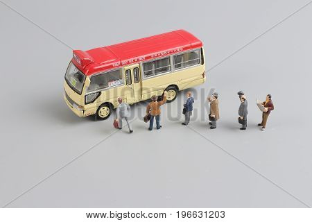 Mini Travellers At A Busy Bus Station