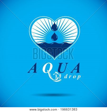Vector blue clear water drop symbol for use in mineral water advertising. Alternative medicine concept.
