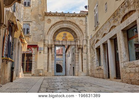 POREC, CROATIA - JULY, 14: Entrance portal of the Euphrasian Basilica on July 14, 2017