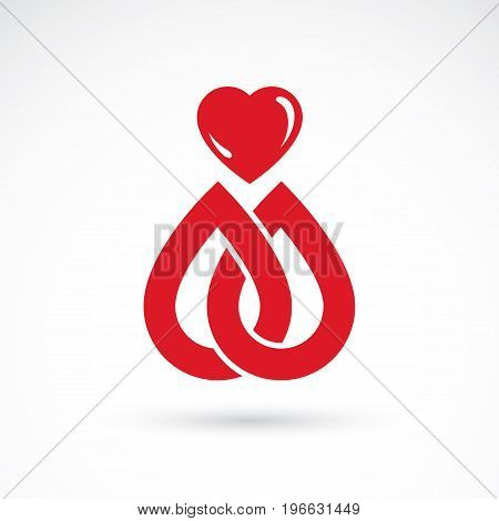 Vector illustration of heart shape isolated on white. Hematology theme medical treatment design for use in pharmacy business. poster