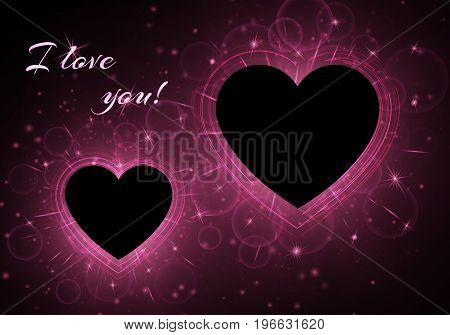 Romantic bokeh background with bright light. Frames in the form of hearts on a dark backdrop. Vector design for St. Valentine's Day.