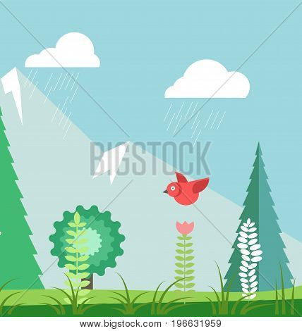 Rainy summer landscape with leafy tree, funny red bird, evergreen spruces, fresh grass, herbal and flower plants, high rocky mountains on horizon and rain clouds in blue sky vector illustration.
