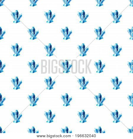 Blue crystals pattern seamless repeat in cartoon style vector illustration