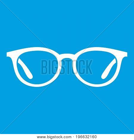 Glasses icon white isolated on blue background vector illustration