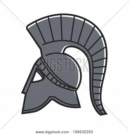 Ancient solid metal gladiators helmet isolated cartoon vector illustration on white background. Antique relic made of steel. Part of Greek warrior outfit. Protective headgear that cover whole face.